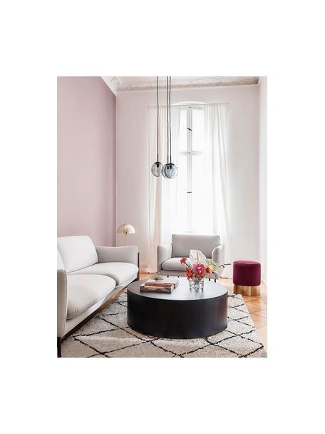 Mesa de centro redonda grande Clarice, Estructura: tablero de fibras de dens, Roble, negro pintado, dorado brillante, Ø 90 x Al 35 cm