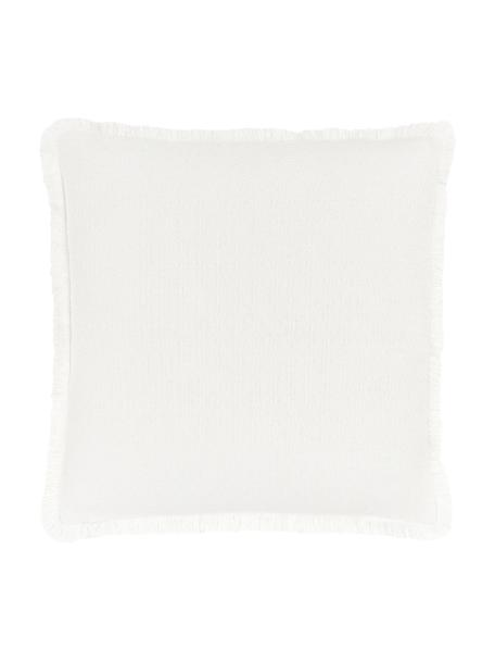 Kissenhülle Lorel in Cremeweiß mit dekorativen Fransen, 100% Baumwolle, Weiß, 60 x 60 cm