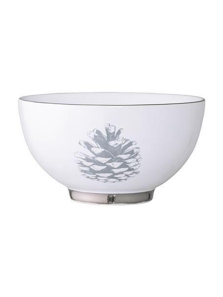 Kom Frost, 2 stuks, Steengoed, Wit, zilverkleurig, lichtgrijs, Ø 14 x H 8 cm