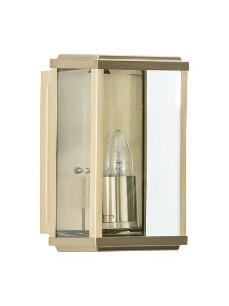 Aussenwandleuchte Wally mit Glasschirm, Edelstahl, vermessingt mit Glas-Einsatz, Messing, antik, Transparent, 16 x 25 cm