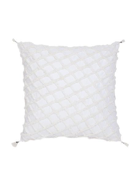 Kissenhülle Royal mit Hoch-Tief-Struktur und Quasten, Baumwolle, Weiß, 45 x 45 cm