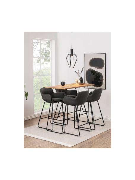 Barstoelen Lisa, 2 stuks, Bekleding: polyester, Frame: gepoedercoat metaal, Donkergrijs, zwart, 52 x 100 cm