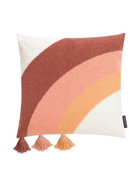 Funda de cojín texturiza con borlas Verano, estilo étnico, 60%algodón, 40%poliacrílico, Crema, melocotón, rosa, terracota, An 45 x L 45 cm