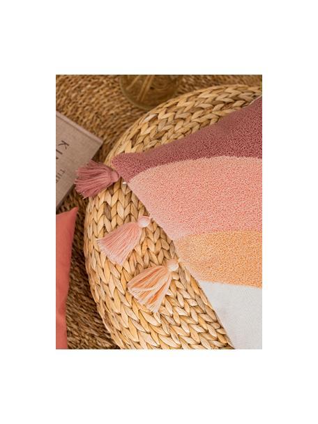 Kussenhoes Verano met kwastjes en zacht structuur-oppervlak, 60% katoen, 40% polyacryl, Crèmekleurig, perzikkleurig, roze, terracottarood, 45 x 45 cm