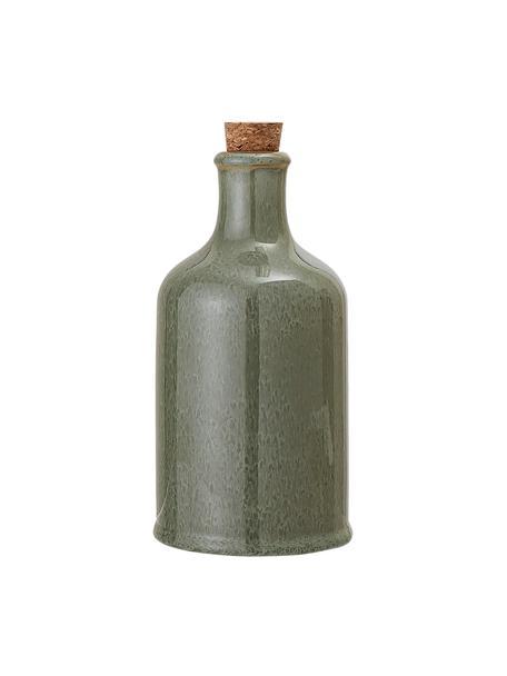 Handgemachte Essig- und Öl-Karaffe Pixie, luftdicht, Flasche: Steingut, Verschluss: Korken, Grüntöne, Ø 10 x H 19 cm