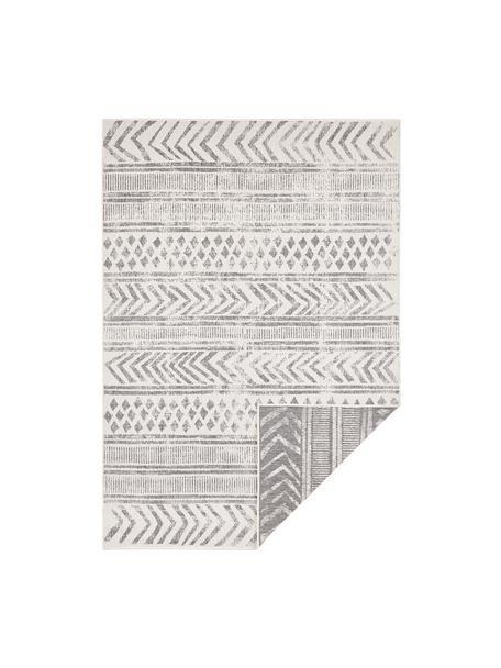 Dubbelzijdig in- en outdoor vloerkleed Biri met grafisch patroon in grijs/crèmekleur, 100% polypropyleen, Grijs, crèmekleurig, B 80 x L 150 cm (maat XS)