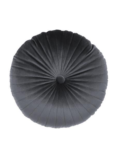 Poduszka okrągła z aksamitu z wkładem Monet, Tapicerka: 100% aksamit poliestrowy, Ciemnyszary, Ø 40 cm