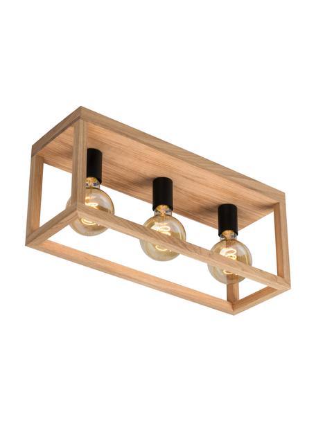 Lampa sufitowa z drewna Kago, Brązowy, czarny, S 52 x W 25 cm