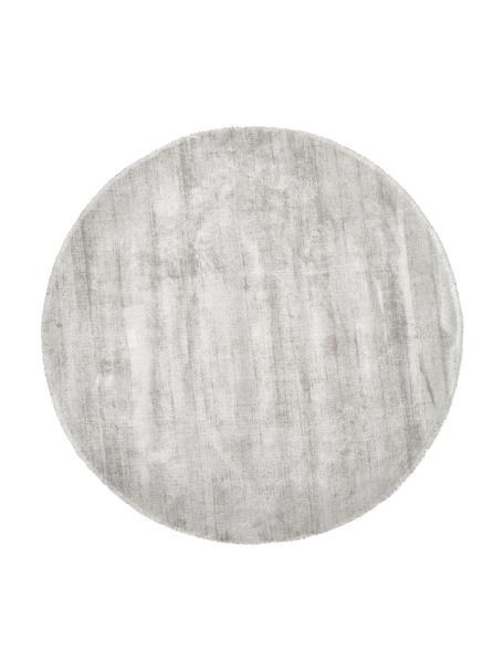 Alfombra redonda artesanal de viscosa Jane, Parte superior: 100%viscosa, Reverso: 100%algodón, Gris claro, beige, Ø 115 cm (Tamaño XS)
