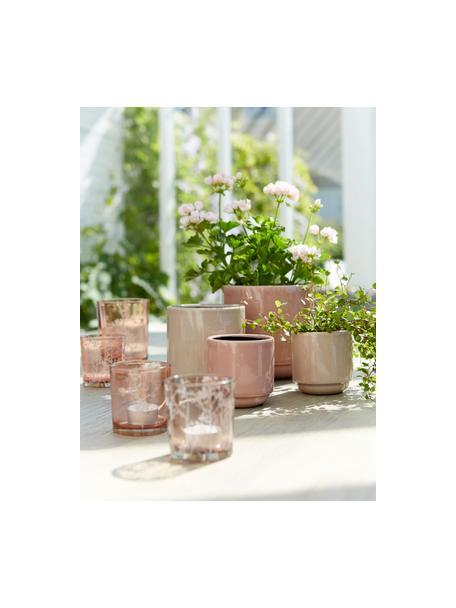 Teelichthalter-Set Flowery, 2-tlg., Glas, bedruckt, Rosa, Ø 10 x H 12 cm