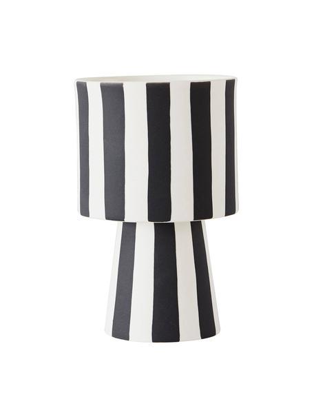 Portavaso a strisce in ceramica fatto a mano Toppu, Ceramica, Bianco, nero, Ø 10 x Alt. 15 cm