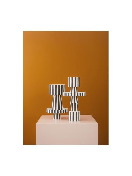 Kleine handgemaakte plantenpot Toppu van keramiek, Keramiek, Wit, zwart, Ø 10 x H 15 cm