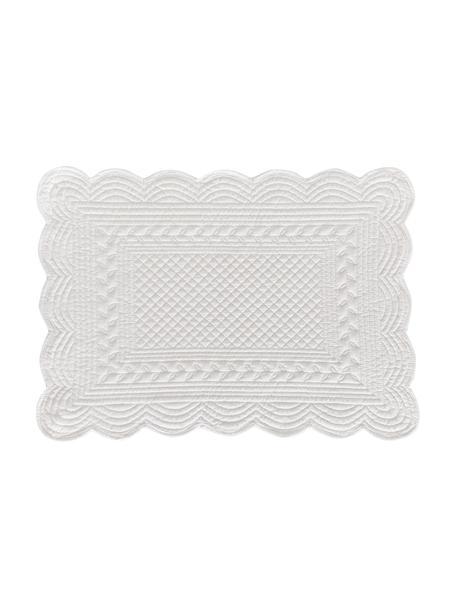 Katoenen placemats Boutis, 6 stuks, 100% katoen, Wit, 34 x 48 cm