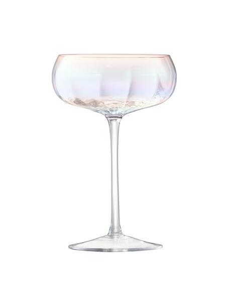 Copas pompadour de champán de vidrio soplado artesanalmente Pearl, 4uds., Vidrio, Brillo perla, Ø 11 x Al 16 cm