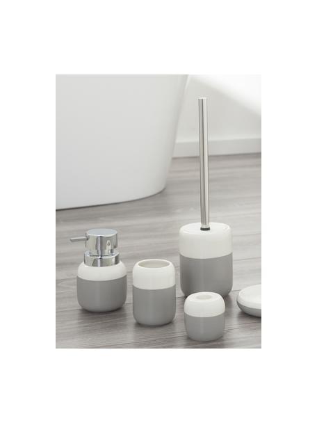Toiletborstel Sphere met porseleinen greep, Houder: porselein, Houder: lichtgrijs, wit. Toiletborstel: edelstaalkleurig, Ø 10 x H 38 cm