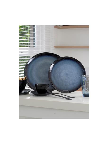 Speiseteller Sapphire in Blau mit effektvoller Glasur, 3 Stück, Steingut, Blau, Schwarzbraun, Ø 27 cm