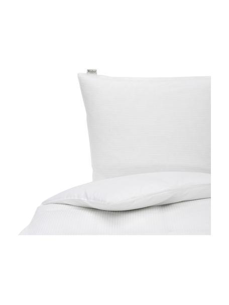 Seersucker-Bettwäsche Basic & Tough, Webart: , Vorderseite: Seersucker, Rückseite: Renforcé Fadendichte 144 , Weiß, 135 x 200 cm + 1 Kissen 80 x 80 cm
