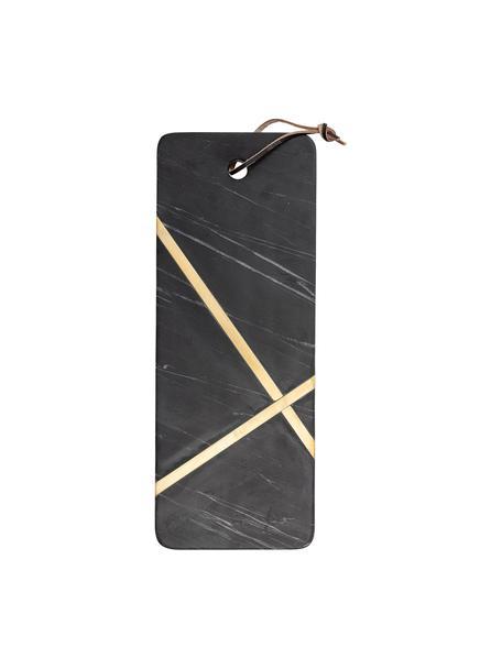 Marmeren snijplank Elsi met goudkleurige decoratie, L 41 x B 16 cm, Decoratie: kunststof, Zwart, 16 x 41 cm