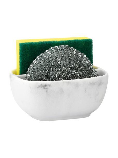 Set lavavajillas Galia, 3pzas., Recipiente: poliresina, Estropajo: metal, Mármol blanco, plateado, An 13 x Al 6 cm