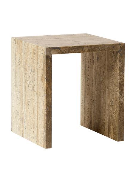 Beistelltisch Travertin im minimalistischem Design, Travertin, Beige, B 35 x T 35 cm