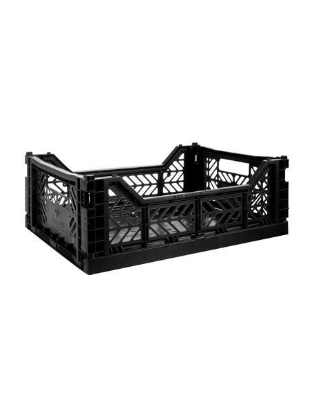 Krat Black, stapelbaar, medium, Gerecycled kunststof, Zwart, 40 x 14 cm