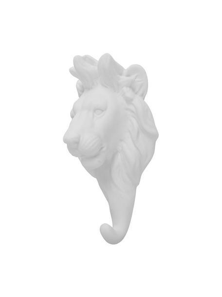 Wandhaken Lion aus Porzellan, Porzellan, Weiß, H 15 cm