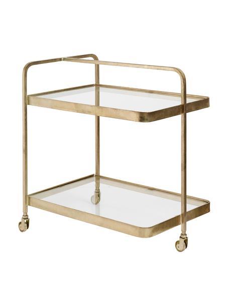Camarera artesanal de metal Troy, Estructura: metal, latón, Estantes: vidrio, Dorado, An 70 x Al 75 cm