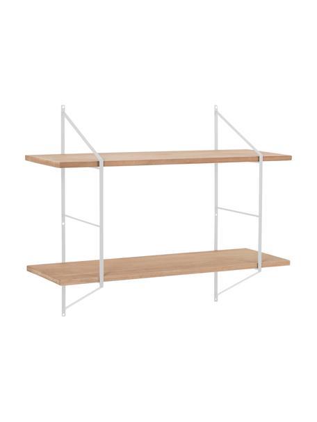 Klein wandrek Belfast met metalen frame, Plank: paulowniahout, gebeitst, , Frame: gepoedercoat metaal, Wit, beige, 76 x 63 cm