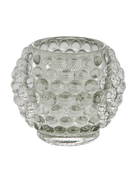 Handgefertigter Teelichthalter Doria, Glas, Grau, transparent, Ø 9 cm