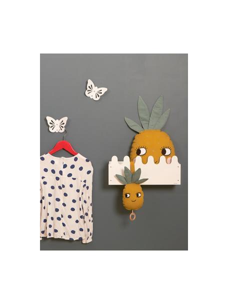 Sonajero colgante artesanal Pineapple, Algodón, certificado OCS, Amarillo, An 25 x Al 10 cm
