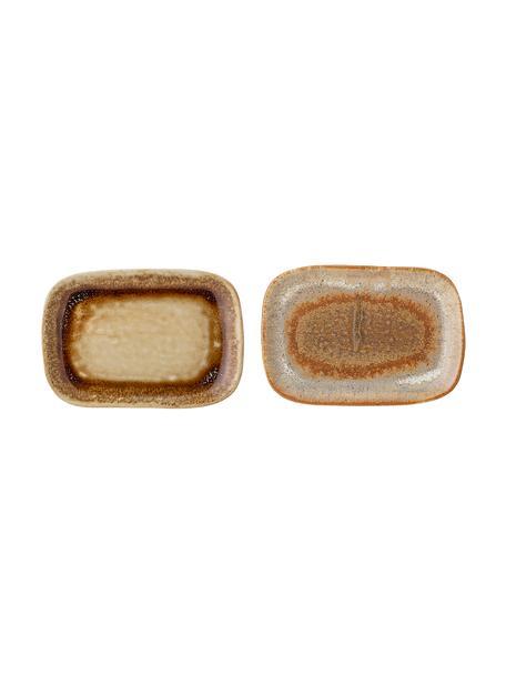 Handgemaakte keramische serveerplateaus Willow, L 14 x B 10 cm, 2-delig, Keramiek, Bruintinten, 10 x 14 cm