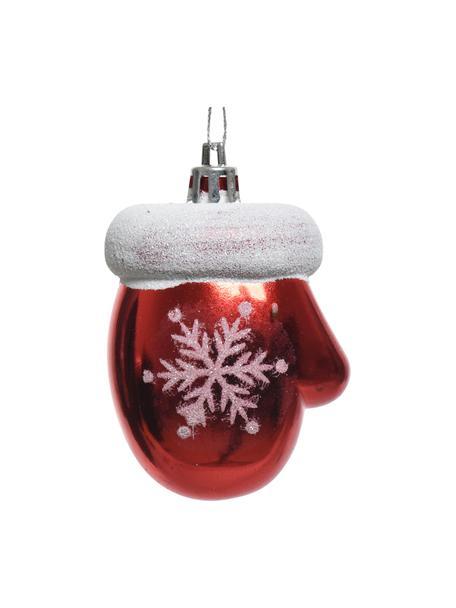 Adornos navideños irrompibles Glove, 8uds., Adornos: plástico, Rojo, blanco, Ø 5 x Al 7 cm
