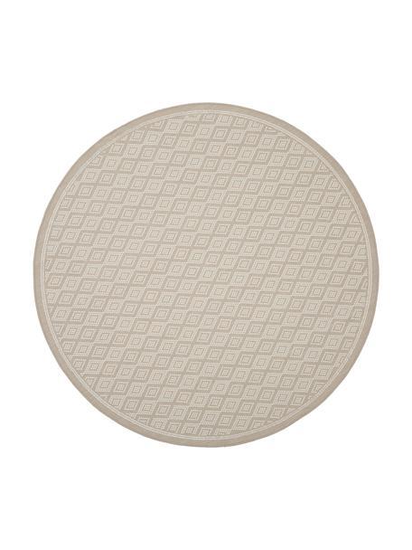 In- & outdoor vloerkleed Capri in beige/crèmekleur, 86% polypropyleen, 14% polyester, Wit, beige, Ø 140 cm (maat M)