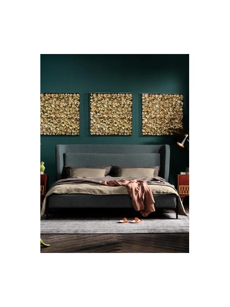 Cama tapizada Tivoli, Estructura: madera de eucalipto maciz, Tapizado: 100%poliéster, Patas: acero con pintura en polv, Tejido verde, 160 x 200 cm