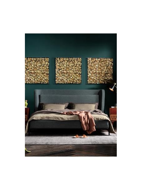 Gestoffeerd bed Tivoli, Frame: massief eucalyptushout en, Bekleding: 100% polyester, Poten: gepoedercoat staal, Groen, 160 x 200 cm