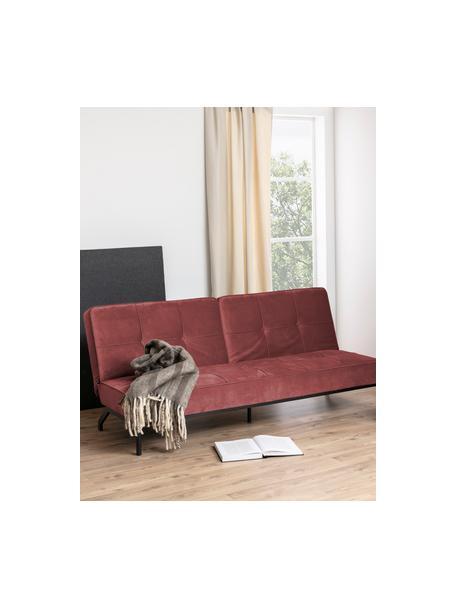 Sofá cama de terciopelo Perugia (3plazas), plegable, Tapizado: poliéster Alta resistenci, Patas: metal pintado, Terciopelo naranja coral, An 198 x F 95 cm