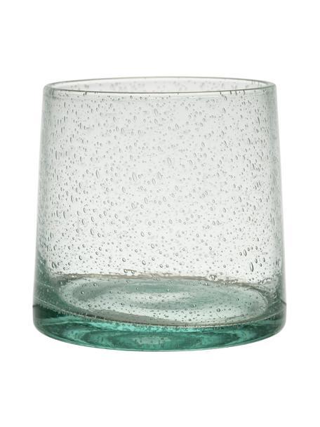 Vasos con burbujas de aire Lorea, 6uds., Vidrio, Verde, Ø 7 x Al 8 cm