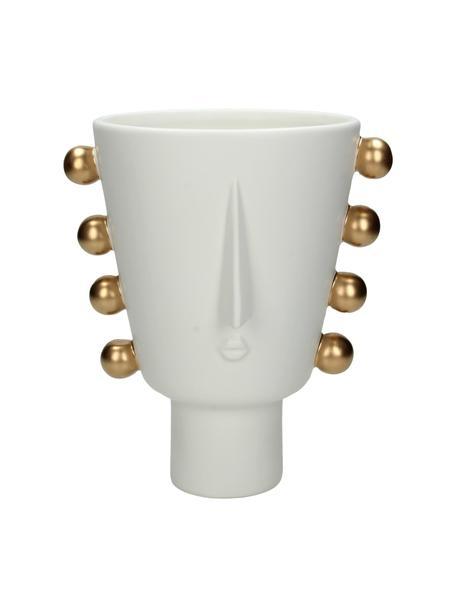 Macetero Tribal, Gres, Blanco, dorado, An 18 x Al 20 cm