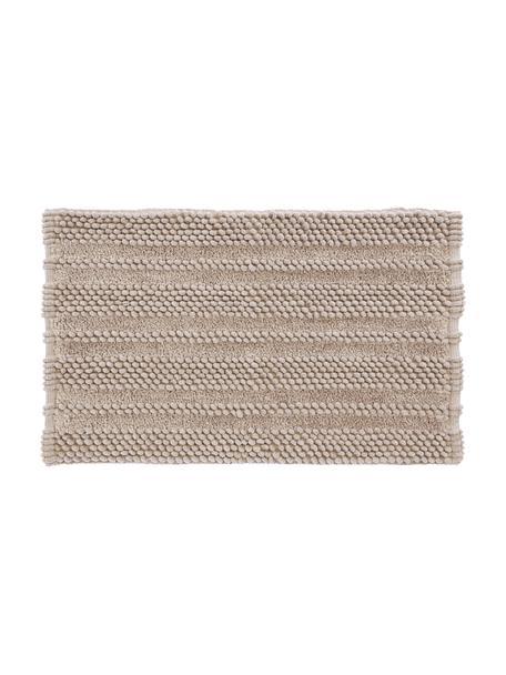 Tappeto bagno morbido con motivo a rilievo Nea, 65% poliestere, 35% cotone, Color sabbia, Larg. 50 x Lung. 80 cm