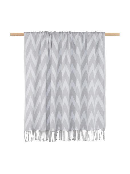 Coperta in cotone con motivo a zigzag Ella, 100% cotone, Grigio, grigio chiaro, Larg. 140 x Lung. 170 cm