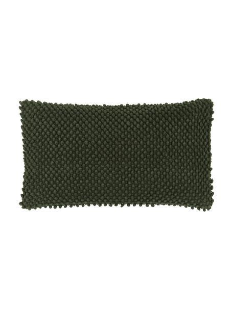 Federa arredo con superfice strutturata in cotone verde scuro Indi, 100% cotone, Verde, Larg. 30 x Lung. 50 cm