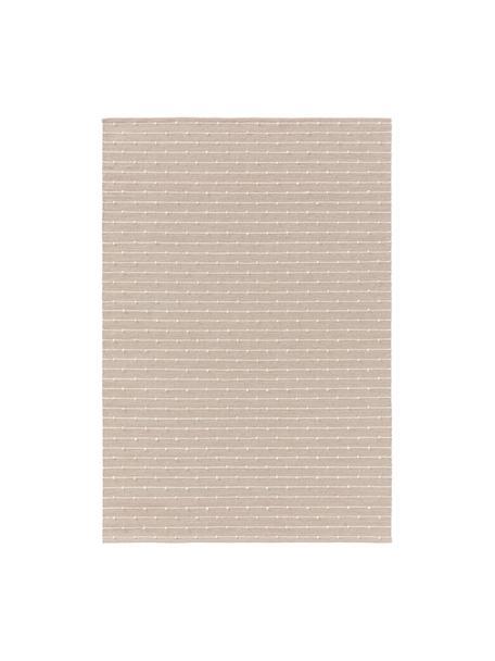 Handgeweven katoenen vloerkleed Lupo in beige/crèmekleur, 80% katoen, 20% wol, Beige, B 120 x L 170 cm (maat S)