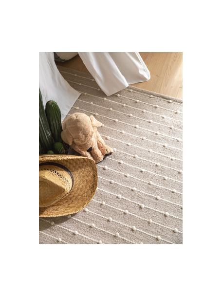 Handgewebter Baumwollteppich Lupo in Beige/Creme, 80% Baumwolle, 20% Wolle, Beige, B 120 x L 170 cm (Größe S)