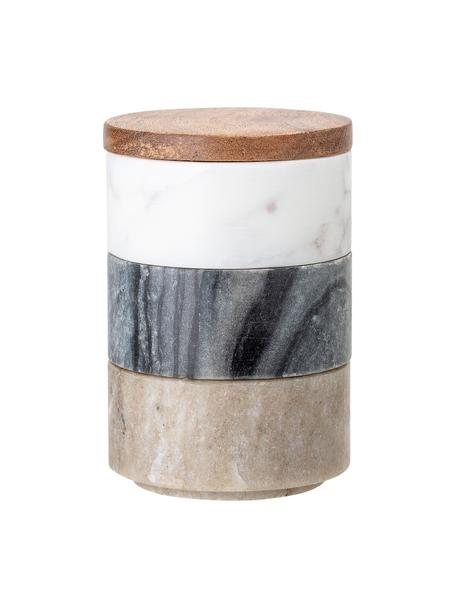 Kleine Aufbewahrungsdosen Gatherings aus Marmor Ø 8 x H 12 cm, 3er-Set, Dosen: Marmor, Deckel: Akazienholz, Braun, Grau, Weiss, marmoriert, Ø 8 x H 12 cm