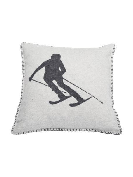 Funda de cojín Skiers, 85%algodón, 15%poliacrílico, Gris claro, gris, An 50 x L 50 cm