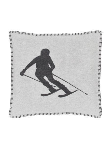 Federa arredo color bianco/grigio scuro Skiers, 85% cotone, 15% poliacrilico, Grigio chiaro, grigio, Larg. 50 x Lung. 50 cm