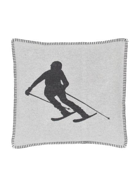Kussenhoes Skiers in wit/donkergrijs, 85% katoen, 15% polyacryl, Lichtgrijs, grijs, 50 x 50 cm