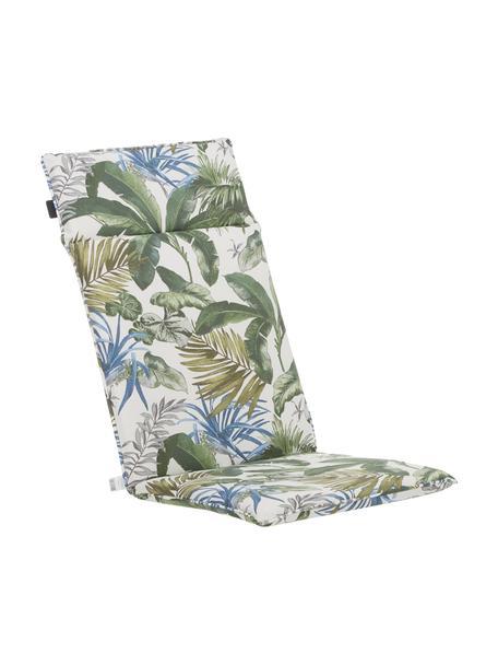 Hochlehner-Stuhlauflage Bliss mit tropischem Print, wasserabweisend, Bezug: 50% Baumwolle, 45% Polyes, Creme, Grün- und Blautöne, 50 x 120 cm