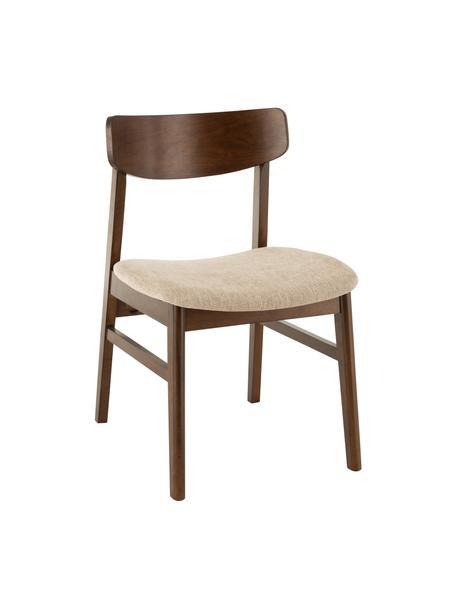 Sedia in legno scuro Ken, Rivestimento: poliestere, Struttura: legno albero della gomma, Marrone, beige, Larg. 57 x Alt. 53 cm
