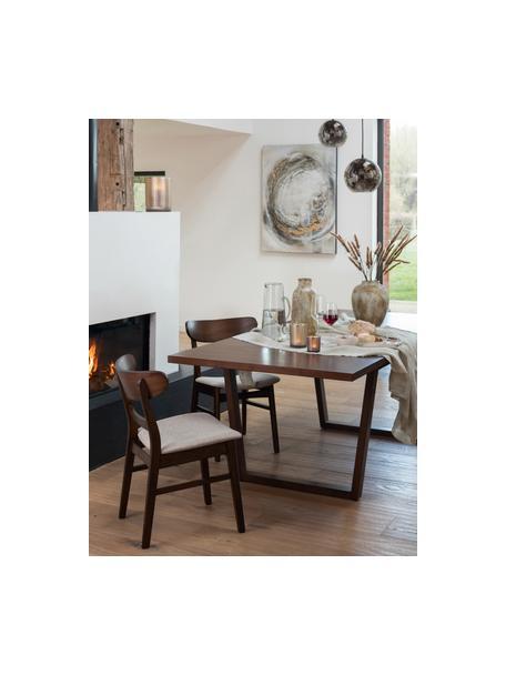 Houten stoel Ken van donkere hout, Bekleding: polyester, Frame: rubberhout, Bruin, beige, 57 x 53 cm